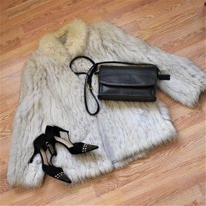 Saga Fox REAL Blue Fox Fur Coat size small